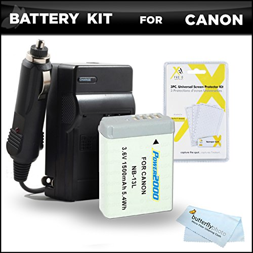 Battery and Charger Bundle Kit for Canon PowerShot SX720 HS, Canon G7 X Mark II, G7 X, G9 X, G5 X Digital Camera Includes Extended Replacement (1500Mah) NB-13L Battery + Ac/Dc Rapid Charger + More -  ButterflyPhoto, AMAZ24164