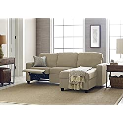 Serta Palisades Reclining Sectional with Right Storage Chaise - Dusk Beige