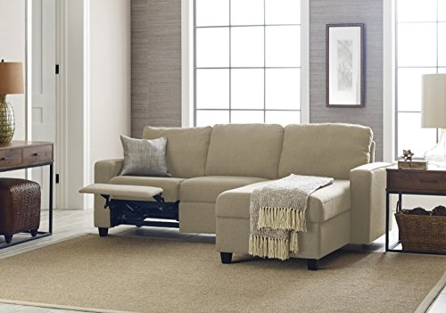 Serta Palisades Reclining Sectional with Right Storage Chaise - Dusk Beige (Sofas Small Sectional)
