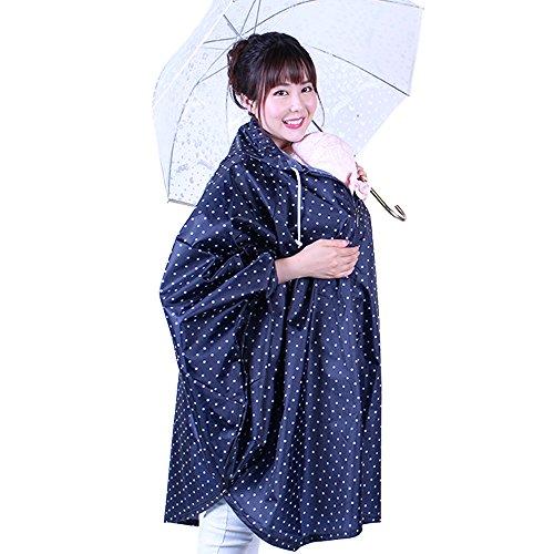 ドラフト忌まわしい保証金レインポンチョ ポンチョ ママレインコート レインママコート ママ レインコート 抱っこしたまま着られる 雨 梅雨 赤ちゃん 妊娠期 自転車 抱っこ紐 急な雨も安心 収納袋付き 巾着袋 便利 可愛い (ネイビー)