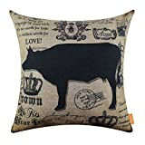 LINKWELL 18x18 inches Vintage Farm Cow Burlap Pillowcase Cushion Cover CC1247
