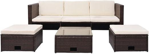 LD Jardín sofá Cama de 12 Piezas ratán marrón Muebles de jardín ...