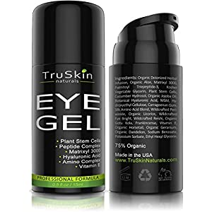 Best Eye Gel for Wrinkles, Fine Lines, Dark Circles, Puffiness and Bags, 75% ORGANIC Ingredients, With Hyaluronic Acid, Jojoba Oil, MSM, Peptides and More, Refreshing Eye Cream Alternative