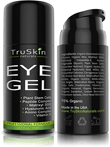 Best Eye Gel for Wrinkles, Fine Lines, Dark Circles, Puffiness, Bags, 75% ORGANIC Ingredients, With Hyaluronic Acid, Jojoba Oil, MSM, Peptides and More, Refreshing Eye Cream Combination Bags Full Line