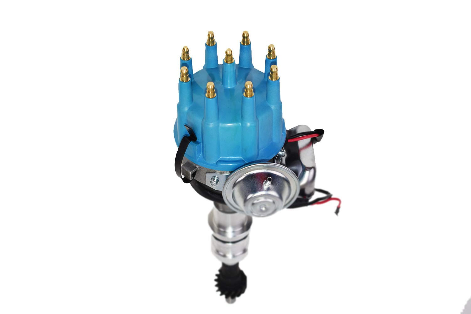 A-Team Performance R2R Ready 2 Run Complete Distributor Big Block BBF Compatible with Ford 351C 351M 400 370 429 460 Two-Wire Installation Blue Cap
