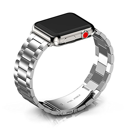 ANCOOL Band Compatible Apple Watch 38mm 42mm Women Men, Stainless Steel Metal Band with Folding Metal Clasp Link Bracelet Replacement Wristband for Apple Watch Series 4 3 2 1(Silver) ()