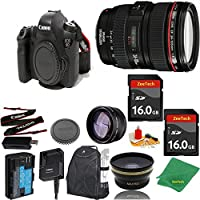 Great Value Bundle for 6D DSLR – 24-105MM L + 2PCS 16GB Memory + Wide Angle + Telephoto Lens + Backpack