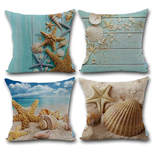 Beach Decor Throw Pillow - Carrie Home Nautical Coastal Decor Starfish/Seashell/Sand/Beach House Decorative Throw Pillow Covers 18 x 18 inch for Party, 4 Pack