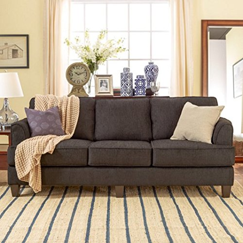 Standard Contemporary Sofa-a Laidback Take on Modern Design- Made of Foam Cushions and Soft Woven Upholstery- It Has Hardwood Frame (Wood Frame Sofa With Cushions)