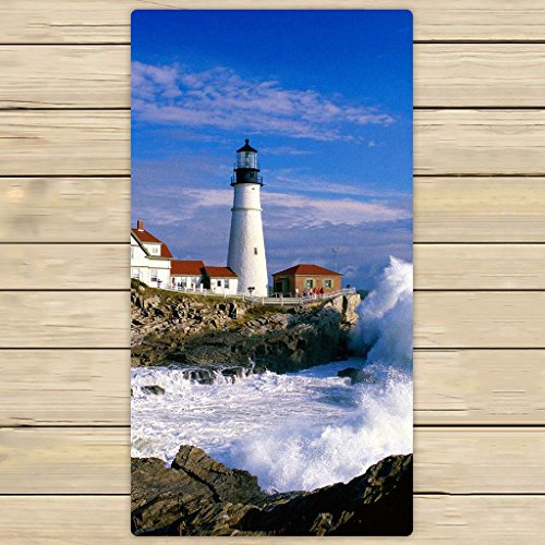 Beach Scene Lighthouse - Custom Lighthouse and Wave Beautiful Scene Hand Towel,Spa Towel,Beach Bath Towels,Bathroom Body Shower Towel Bath Wrap Size 30x56 inches