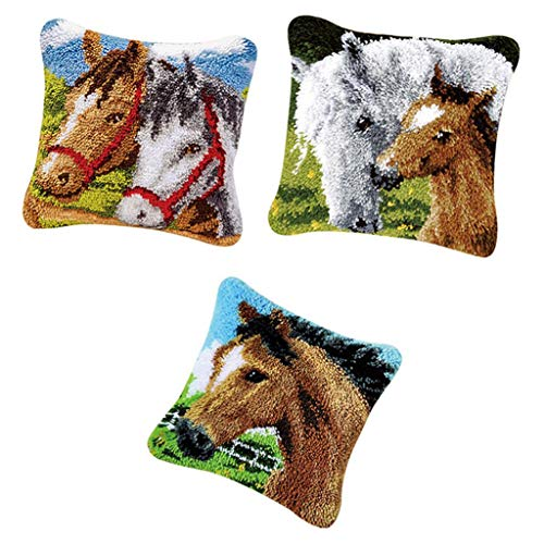 Prettyia 3pcs Latch Hooking Kits DIY Rug Making Pillow Cover Case Home Decors Horse