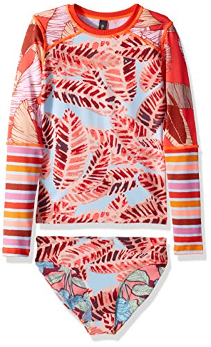 - Maaji Big Girls' Long Sleeve Rashguard Swimsuit Set, Rainbow Monsoon Red Feather, 14