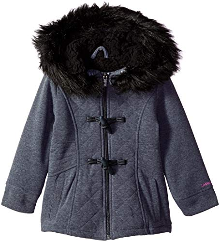 Limited Too Girls' Little Quilted Toggle Fleece Jacket, Charcoal Heather 5/6