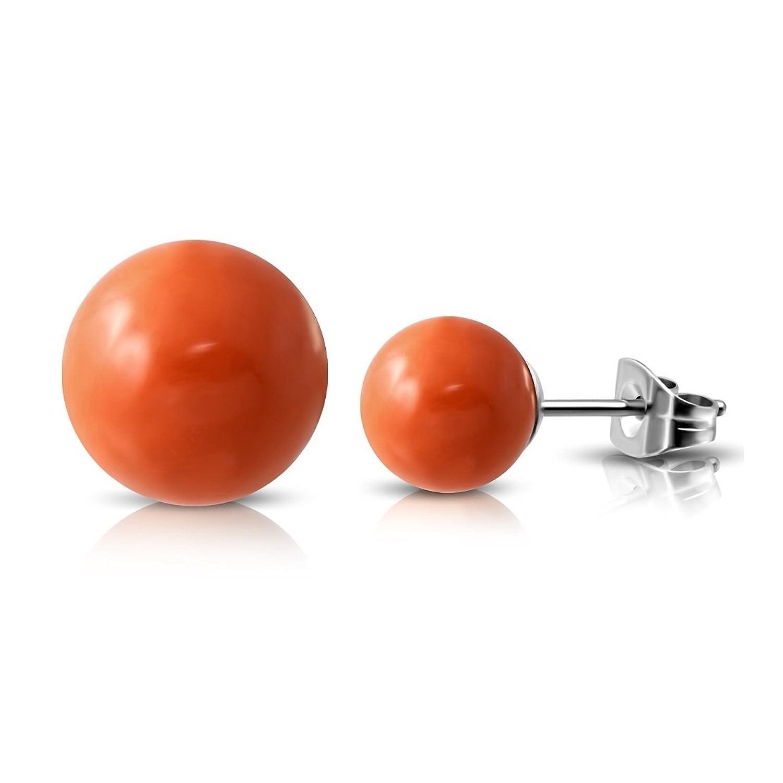 Stainless Steel Orange Resin Ball Stud Earrings (pair)