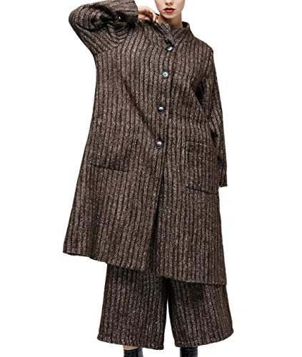 YESNO AH2 Women Fashion Suits Wool Blend 2 Piece Sets Stripe Tweed Jacket Wide Leg Cropped Pants with Pockets