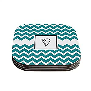 "Kess InHouse KESS Original ""Monogram Chevron Teal Letter V"" Coaster, 4 by 4-Inch, Teal, Set of 4"