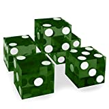 Set of 5 Grade AAA 19mm Casino Dice with Razor Edges and Matching Serial Numbers by Brybelly (Green)