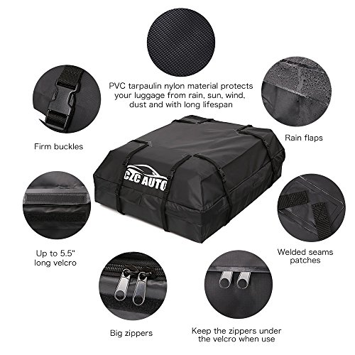 CZC AUTO Car Roof Cargo Carrier, 15 cu. ft Waterproof/Rainproof/Weatherproof Rooftop Storage Bag for Car SUV Van Sedan with Roof Rail Cross Bar Basket or Rack, Soft, Black by CZC AUTO (Image #3)