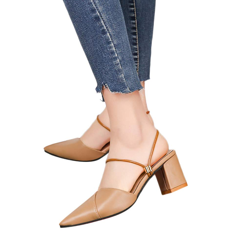 Gyouanime Women Slip On Sandals Dress Shoes Pointed Sandals Fashion High-Heeled Slippers Casual Ladies Shoes