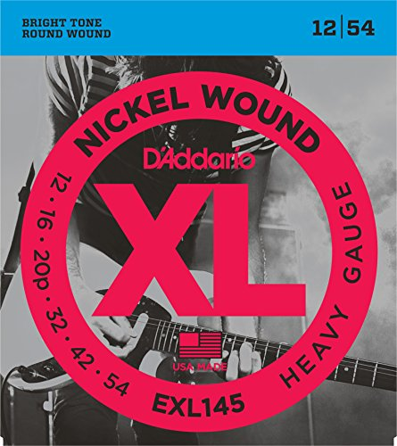 D'Addario EXL145 Nickel Wound Electric Guitar Strings, Heavy, 12-54 with Plain Steel 3rd (Electric 12 String Guitar Strings)