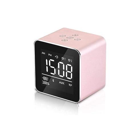 Radio Reloj Despertador, Altavoz Bluetooth inalámbrico portátil con Graves Profundos, Despertador Digital ,Posponer