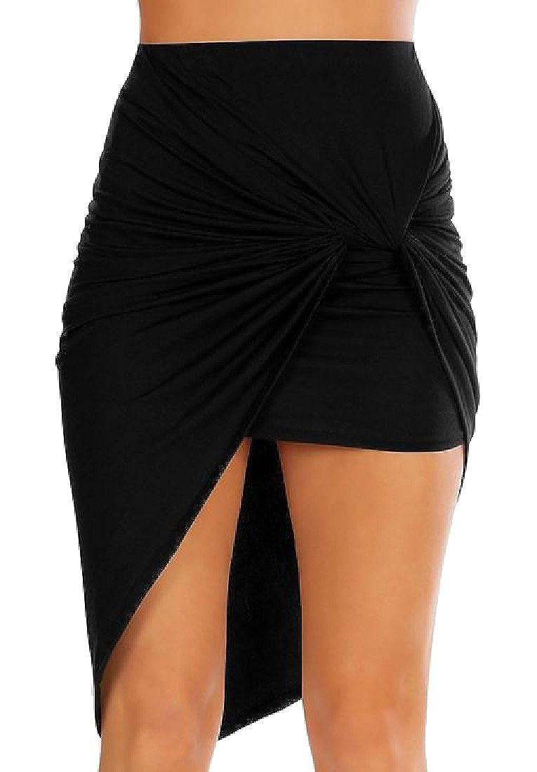Honey GD Women Pure Color Side?Shirring High Low Hem Short Skirt