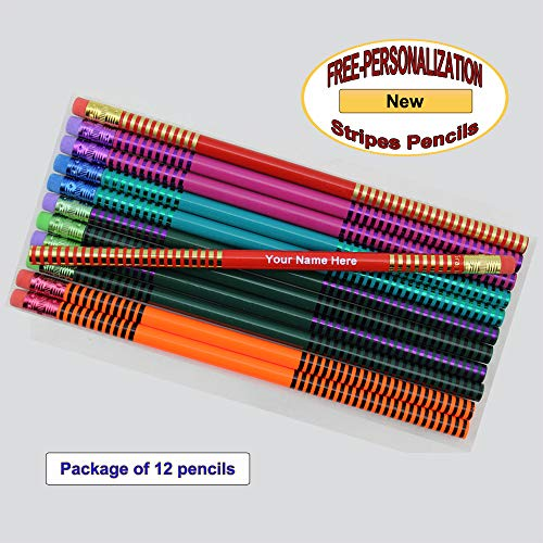 ezpencils - Personalized Assorted Stripes Pencils - 12 pkg FREE PERZONALIZATION]()