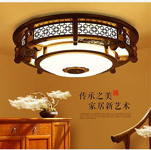 Leihongthebox Ceiling Lights lamp Chinese ceiling light round high wooden ceiling lamp lights arts emulation villa engineering Ceiling lamp for Hall, Study Room, Office, Bedroom, Living Room,600mm by Leihongthebox (Image #2)