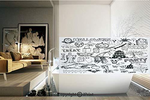 Decorative Privacy Window Film/Hand Drawn Halloween Doodle Trick
