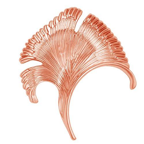SenFai Ginkgo Tree Leaf Elegant Brooch Suit Lapel Pin Wearable Art 3 Tone (Rose Gold)