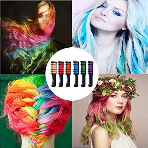 Hair Chalk, Halloween Birthday Christmas Cosplay and DIY, 6 Colors Temporary Washable Hair Color Chalk Non-toxic Girls…