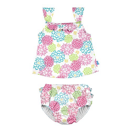 i play. Baby Girls Two-Piece Bow Tankini with Snap Reusable Swimsuit Diaper, White Zinnia, 12mo]()