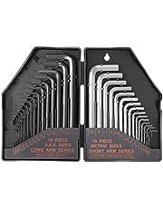 """TACKLIFE Clé Hexagonale 30-Pièces, Clé Allen, 15 PCS Inch: Clé Longue Noir (0.028-3/8""""), 15 PCS Métrique: Clé Courte (0.7-10mm), Marque Précis de Taille  HHW1A"""