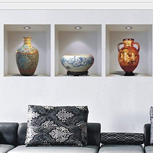 vase vinyl wall stickers home decor living room sitting room promotion 3d - 1