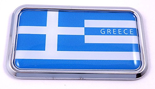 - Greek Greece Flag rectanguglar Chrome Emblem 3D Car Decal Sticker 3