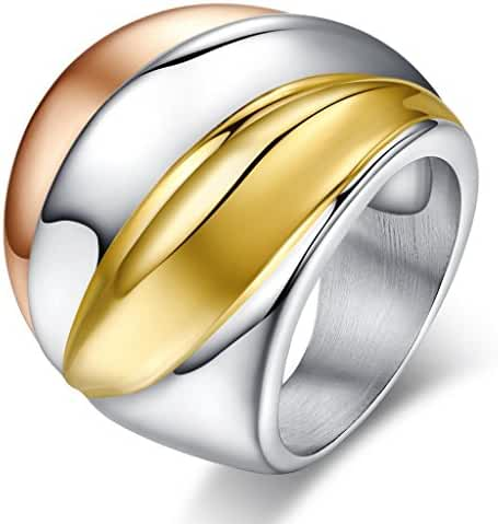 Vintage Stainless Steel Tri-Color Big Head Ring,Gold Plated,,Rose Gold Plated,24mm Width,Size 6 to 9
