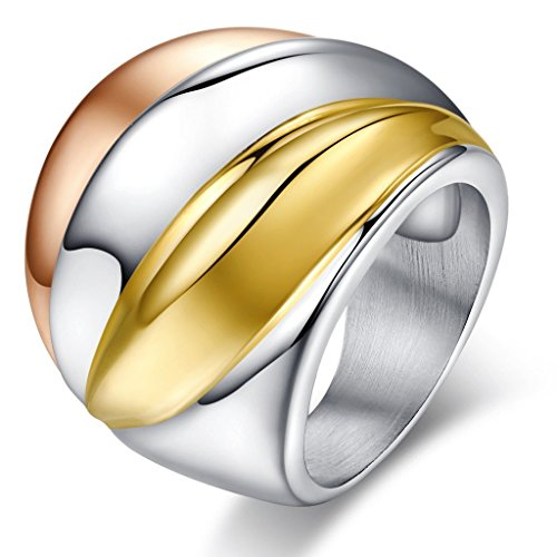 Vintage Stainless Steel Tri-Color Big Head Ring,Gold Plated,,Rose Gold Plated,24mm Width,Size 8 - 18k Tri Color Ring