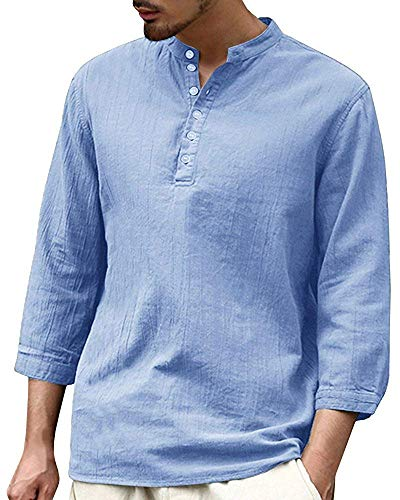 - Tenkilo Men 3/4 Sleeve Henley Shirts Banded Collar Linen Summer Beach V Neck Breathable Loose Fit Blouse T Shirt Blue