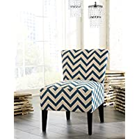 Ravy Fabric Contemporary Accent Chair with Blue Wave Print, Blue