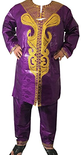 (DecoraApparel African Men Pant Suit Brocade Embroidered 3PCs Suits Bright Colors)