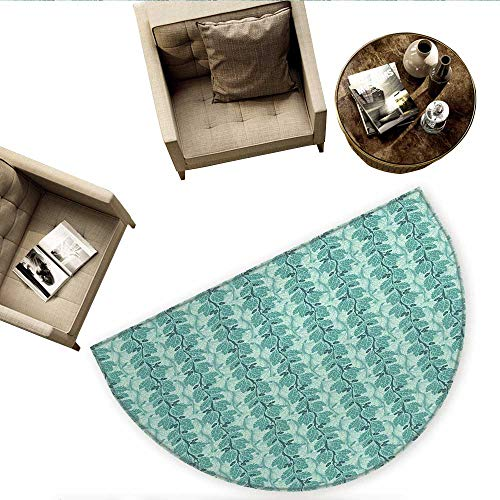 - Tree Half Round Door mats Oaks with Acorns Forest Design with Lush Leaves and Flourishing Branches Bathroom Mat H 78.7