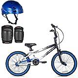 *KENT Bundle - 20'' Boys', Ambush BMX Bike, Blue with Multi-Sport Helmet and Protective Pad Set, Black, Ages 8-14