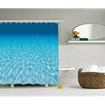 Ambesonne Ocean Decor Collection, Tranquil Underwater Scene Clean Sandy Bottom Surface with Sunlight Coming From Up Picture Print, Polyester Fabric Bathroom Shower Curtain, Navy Aqua