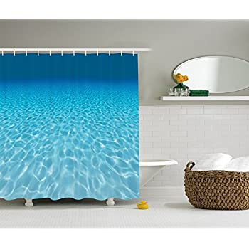 Ambesonne Ocean Decor Collection Tranquil Underwater Scene Clean Sandy Bottom Surface With Sunlight Coming From Up Picture Print Polyester Fabric Bathroom