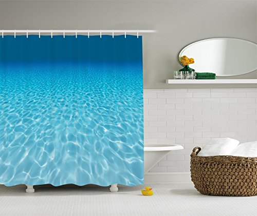 Fan Aqua Print (Ambesonne Ocean Decor Collection, Tranquil Underwater Scene Clean Sandy Bottom Surface with Sunlight Coming From Up Picture Print, Polyester Fabric Bathroom Shower Curtain, Navy Aqua)