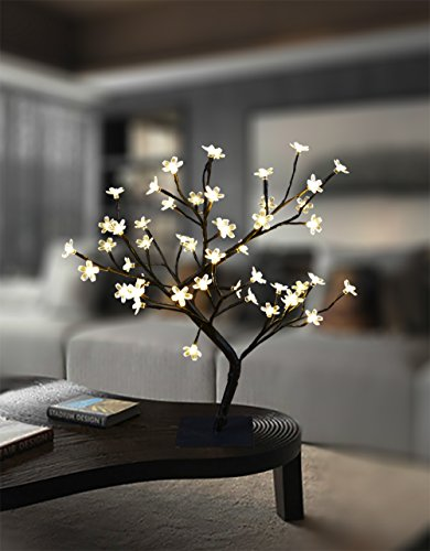 Lightshare 18 Inch Cherry Blossom Bonsai Tree, 48 LED Lights, Warm White Lights, Ideal as Night Lights, Home Gift Idea (Tree White Cherry)
