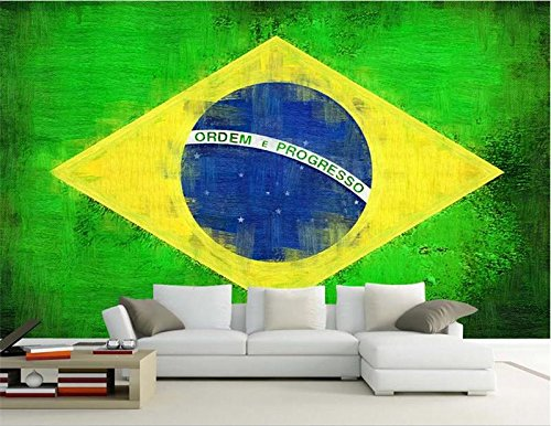 3D Room Wallpaper Custom Photo Mural Non-Woven Wall Sticker Mottled Flag of Brazil Painting Room Wallpaper for Wall 3d-400X280CM