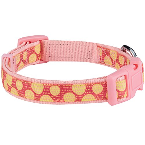 Image of Blueberry Pet 13 Patterns Pretty Lover Yellow Polka Dot Dog Collar in Baby Pink, Medium, Neck 14.5
