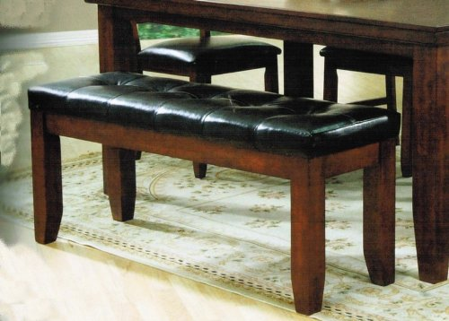 Bench with Button Tufted Design in Cherry Finish
