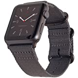 Carterjett Compatible 42mm 44mm Apple Watch Band Women Men Nylon NATO Replacement iWatch Band Matte Grey Buckle Adapters Compatible Apple Watch Sport Nike Editon Series 4 3 2 1 (42 44 S/M/L Gray)